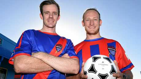 GAME ON: Brad Mitchell (left) and Jacob Chapman are members of the newly licensed Queensland Premire League team, the Wide Bay Buccaneers, which will play in Rockhampton today.