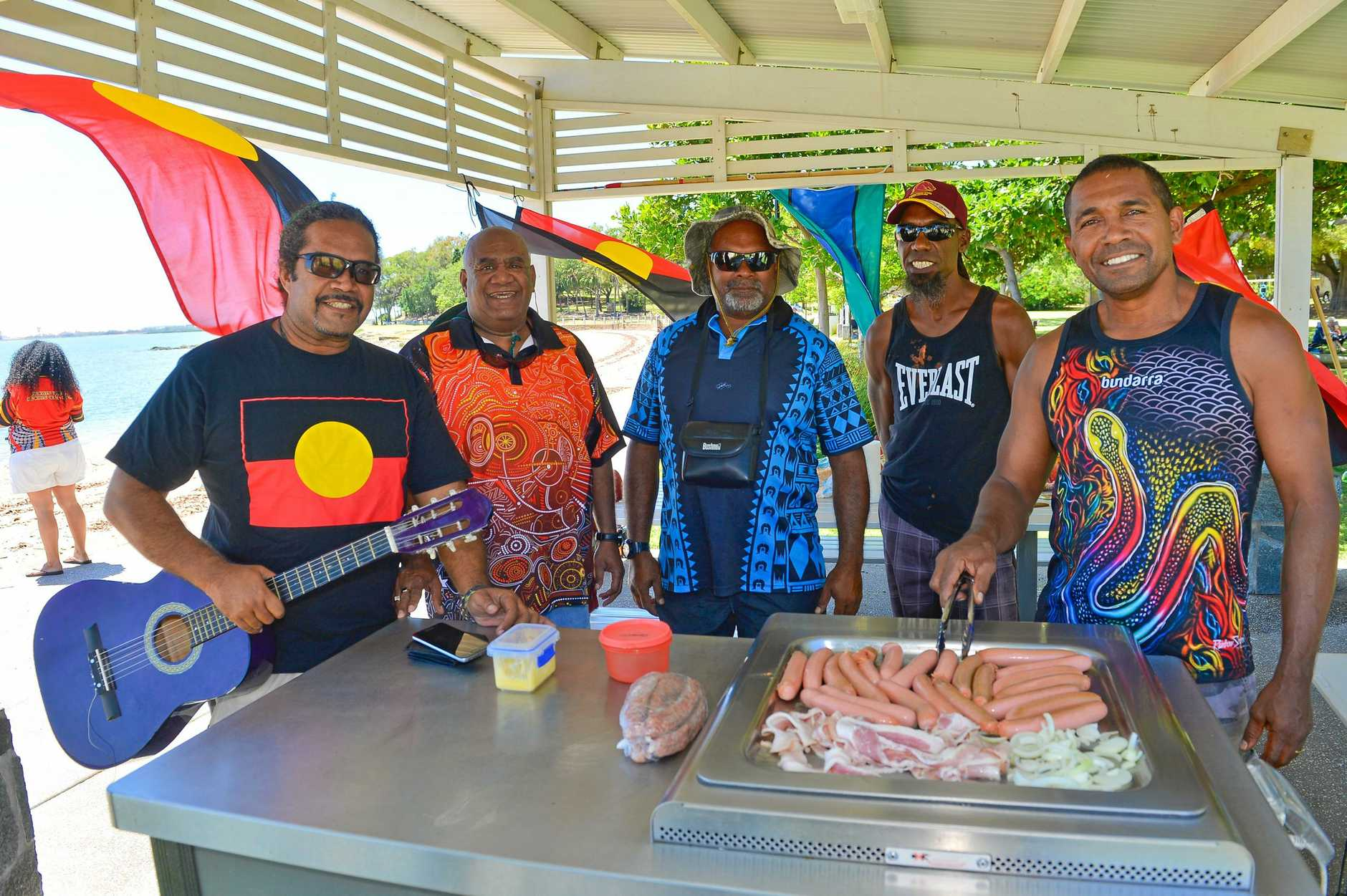 Conrad Ingra, Mick Eggmolesse, James Benjamine, Adam Bond and Tinoy Canendo at Barney Point on Australia day.