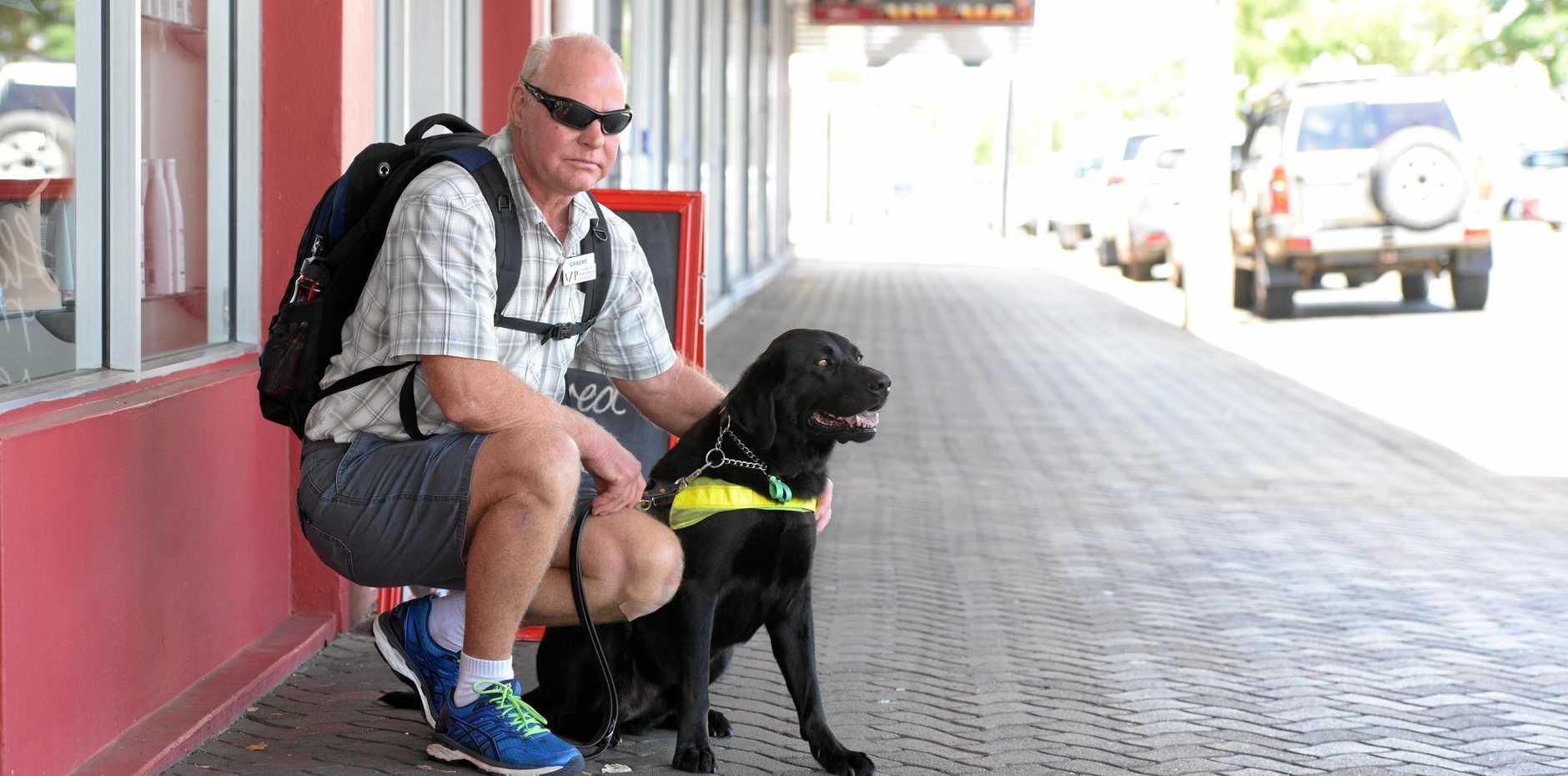 Blind Bundaberg man Graeme Raines was assaulted on Wongarra St.