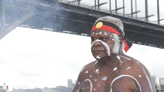 A smoking ceremony as part of Australia Day celebrations at Sydney Harbour. Picture: Supplied