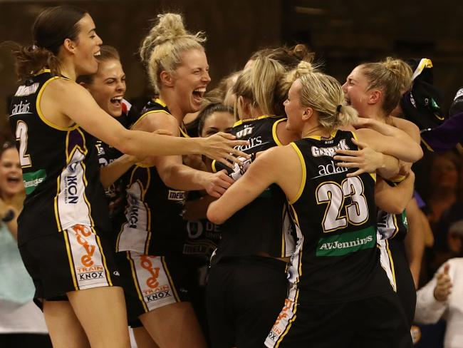 The Boomers celebrate their thrilling win. Pic: Getty Images