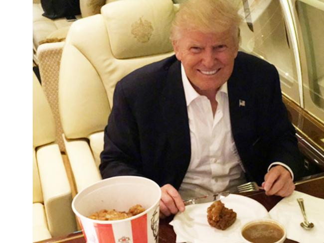 Donald Trump also doesn't mind a bit of KFC, either. Picture: Twitter