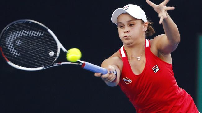 Ashley Barty sends a forehand back in her win over Camila Giorgi. Picture: Michael Klein
