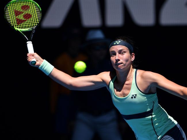 Anastasija Sevastova hits a return during her second-round match.
