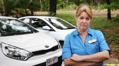 Trinity Beach has been hit with a string of petty crimes. Cruising Car Rental have had several vehicles vandalised and the premises broken into, and attendant Beatrice Soper is sick of it. Picture: BRENDAN RADKE