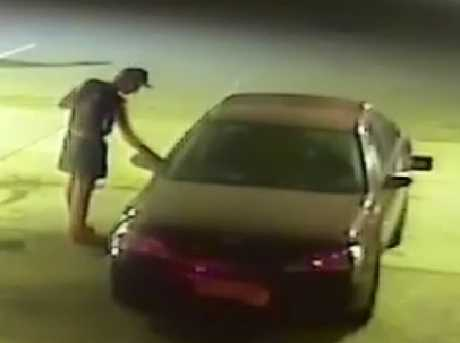 CCTV image of Jayden Penno-Tompsett getting into the maroon car he was travelling in before he disappeared on January 31 near Charters Towers.