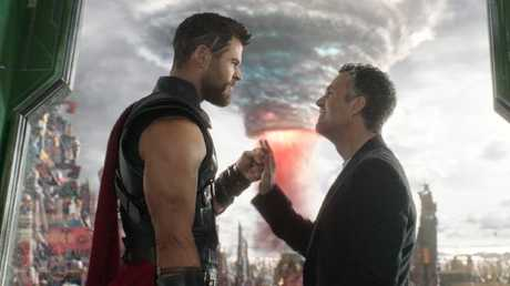 Chris Hemsworth and Mark Ruffalo in Thor: Ragnarok.