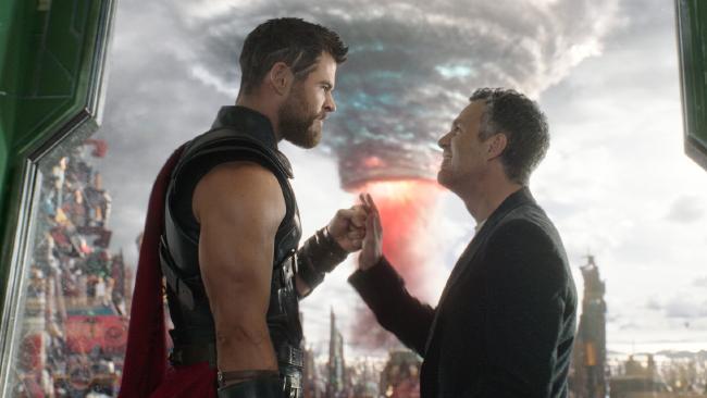Chris Hemsworth and Mark Ruffalo in Thor: Ragnarok.