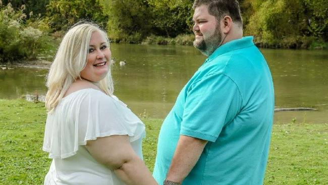 Kate Liepold, with her fiance, accused a wedding photographer of fat shaming. Picture: Facebook/5 News