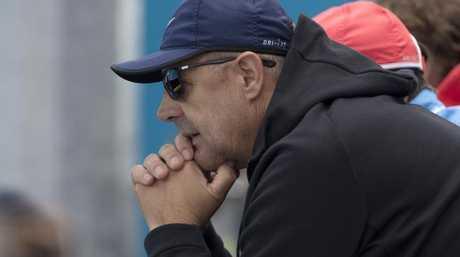 John Tomic watches on as son Bernard Tomic loses in qualifying. Pic: Michael Klein