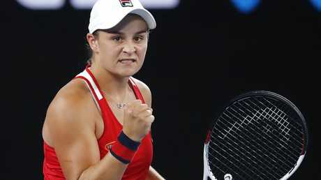 Ashley Barty pumps her fist after beating Camila Giorgi in three sets. Picture: Michael Klein