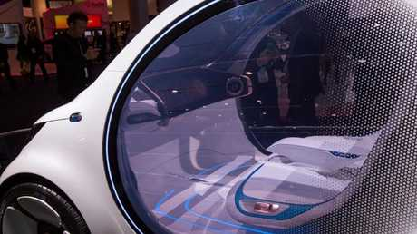 An autonomous Mercedes-Benz Smart Vision EQ concept car with no steering wheels or pedals at the recent CES show in Las Vegas. Photo: AFP.