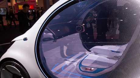 An autonomous Mercedes-Benz Smart Vision EQ concept car with no steering wheels or pedals at the recent CES show in Las Vegas. Photo: AFP.