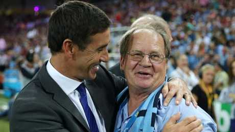 Andrew Johns and Tommy Raudonikis during a 2014 State of Origin clash at Suncorp Stadium.