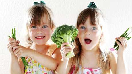 Twins Sienna and Scarlett Parker, 4, have been lucky not to fall into the fussy eating trap, says proud mum Liz. Picture: Nigel Hallett