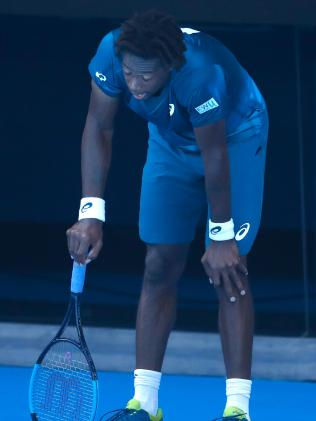 Gael Monfils in a world of pain. Picture: Getty