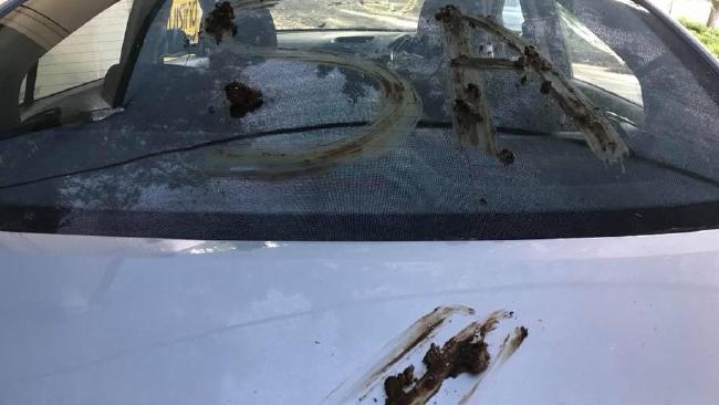 Faeces was smeared all over a Cruising Cars Rental vehicle by unknown offenders.