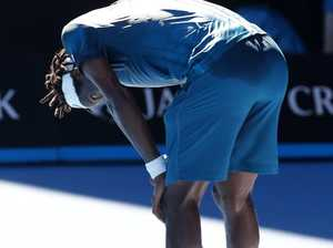 Gael Monfils was on wobbly legs.