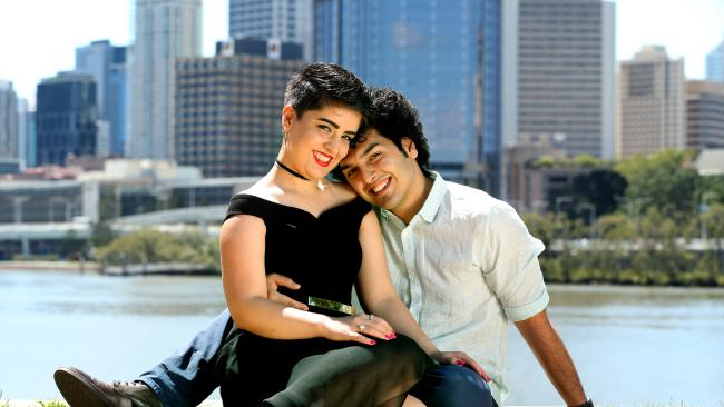 Mojgan Shamsalipoor and her husband Milad Jafari. Ms Shamsalipoor is no longer allowed to study and her fight to live in Australia drags on. Picture: Richard Walker