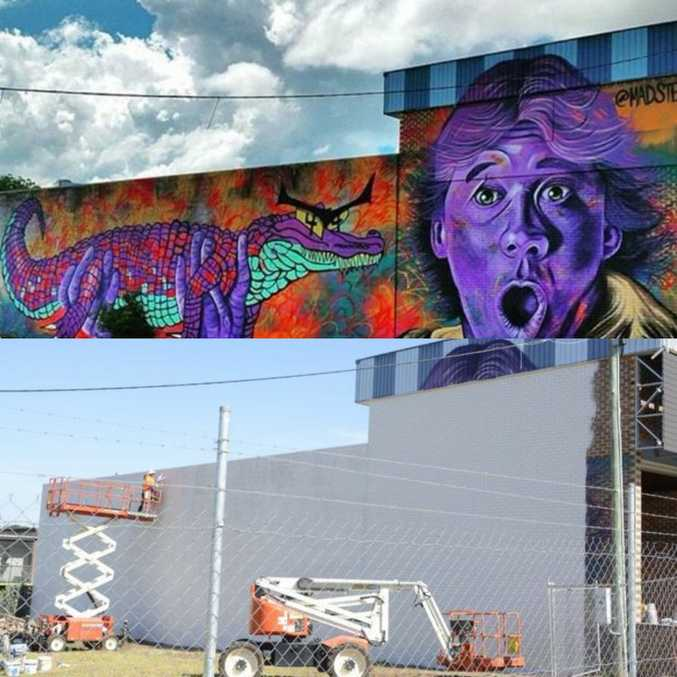 GONE: A mural of Australian icon Steve Irwin, painted in 2015 by American artist Mark Paul Deren, has been painted over to make way for a new development.
