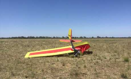 The wreckage of Tim White's ultralight aircraft, which fatally crashed south of Emerald on Sunday.