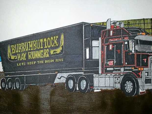 TALENTED ARTIST: Daniel Sewelly has drawn many different trucks, including one for the Burrumbuttock Hay Runners.