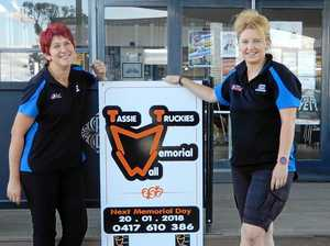 Caroline (right) and Geana (left) at the Epping Forest Caltex the other day doing their best to promote the coming Memorial Day at the Tassie Truckies Memorial Wall.