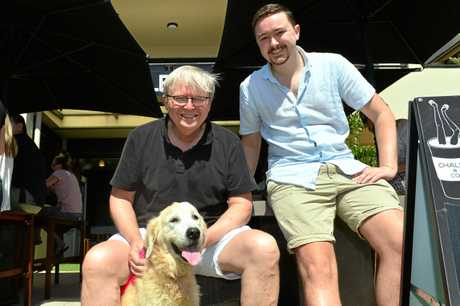 FORMER Primer Minister Kevin Rudd and his son Marcus and dog Abby at The Chalet & Co Cafe in Sunshine Beach.