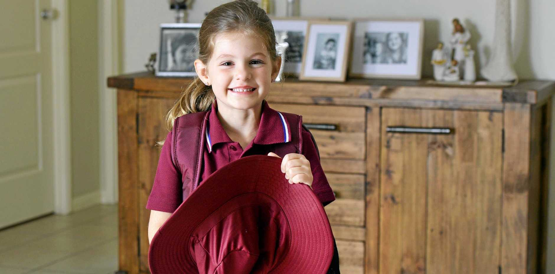 5-year-old Evie O'Sullivan of Brassall will be starting her first day of Prep class next week when school goes back.