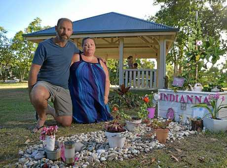 BECS BLESSING: A stranger named Bec left a note and bunch of flowers at the grave of a Coast familys daughter, Indianna. Pictured: Indiannas parents Nicole and Chris Gillogly.