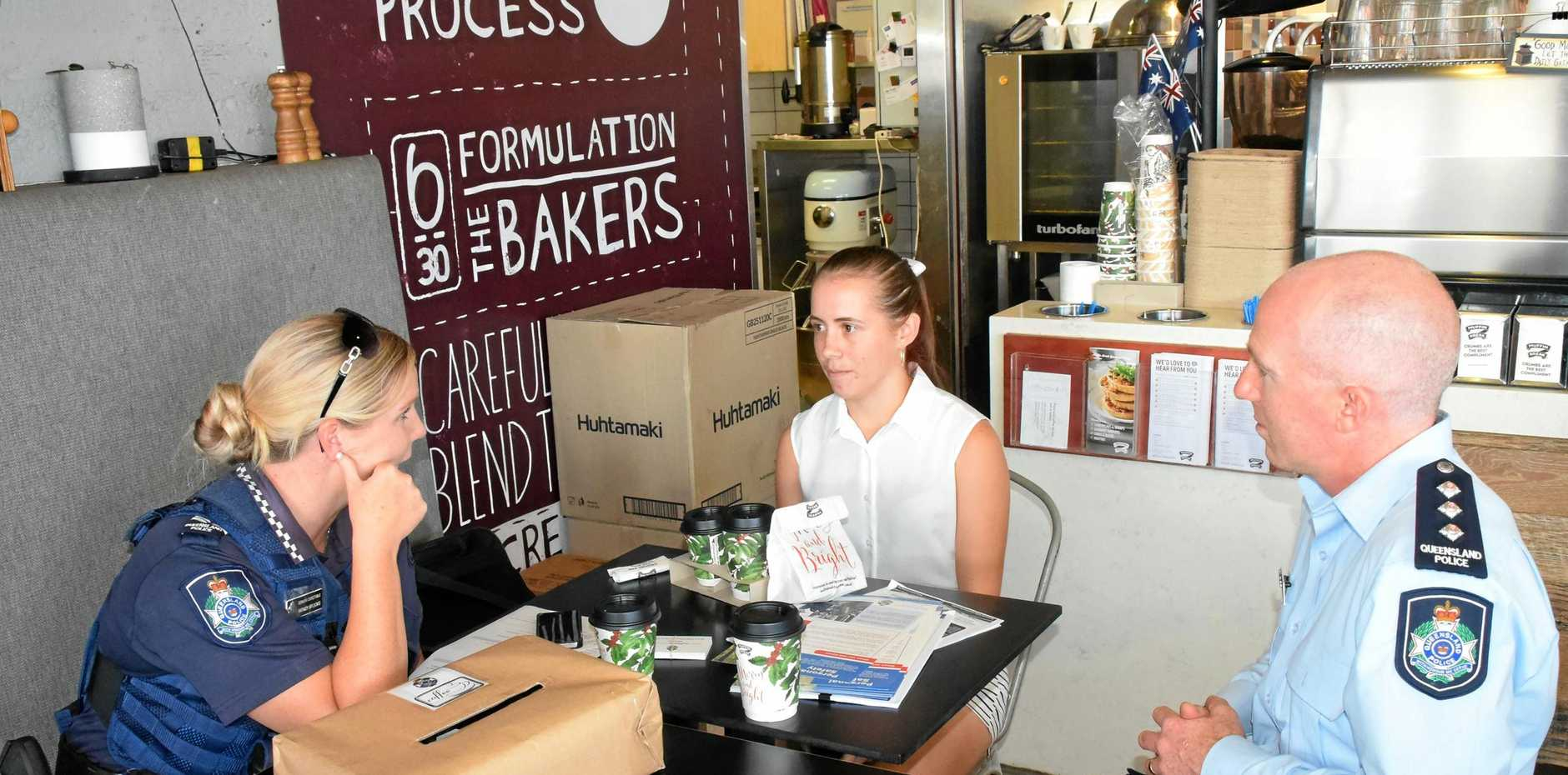MEET 'N' GREET: Coffee with a Cop at Muffin Break in Gladstone was well attended yesterday.