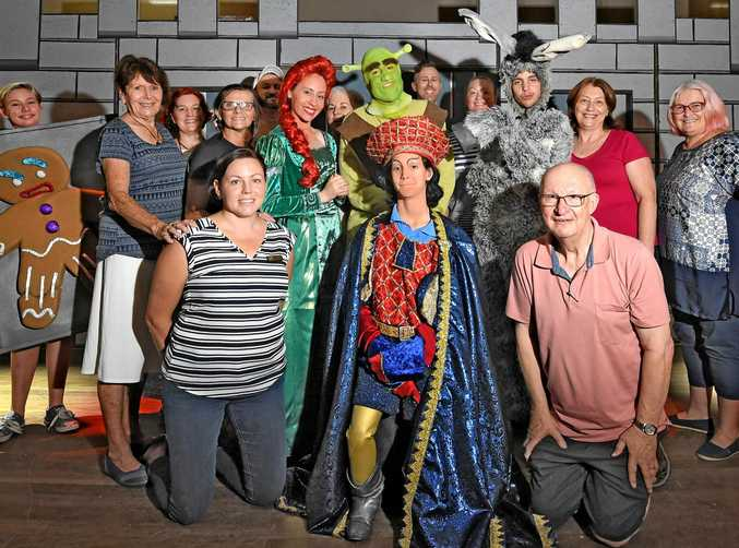 AND ACTION! Some of the cast and crew of  Shrek Jnr  with director Peter Blyth (front right) at the Civic Centre yesterday.