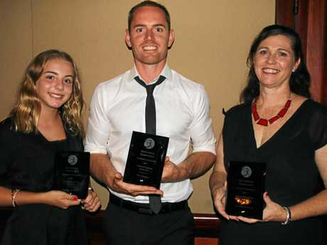 WINNERS: Jacelyn Davidson, Tim Kington and Jenny Rowland at the Gymnastics Queensland Awards Night held in Brisbane.