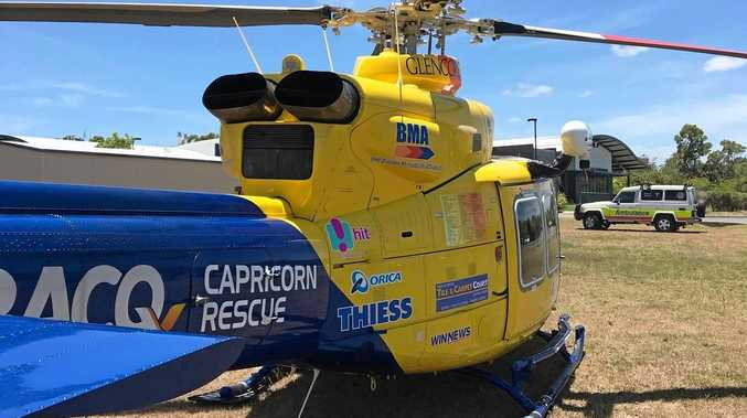 The RACQ Capricorn Helicopter Rescue Service airlifted a woman aged her 50s to the Rockhampton Hospital.