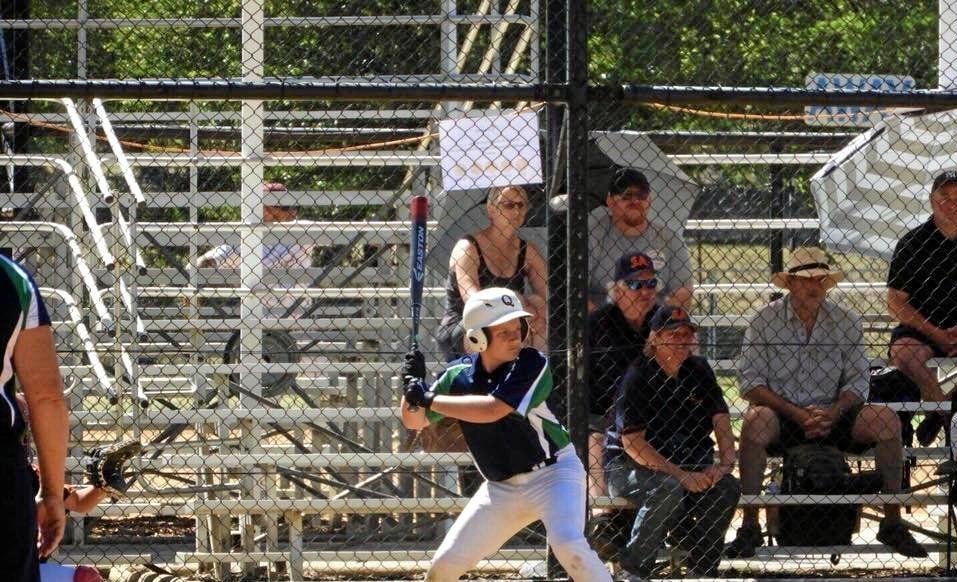 Connor Edgerton batting at the U15 Boys National Softball Championships.
