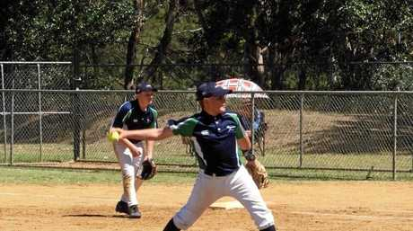 Nick Gehrmann pitching for the Queensland Storm at the U15 Boys National Softball Championships in the ACT.