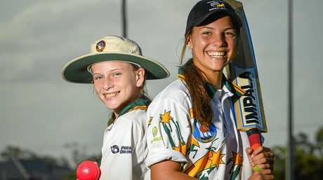 Brooke Sheridan (13) and Ruby Strange (15) are playing for the Queensland Girls U15 side in Adelaide.