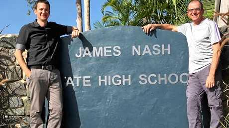 USC graduate Gareth Francis and his father Shaun Francis at James Nash High School.
