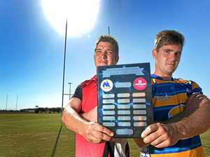 PRIDE: The Bundaberg West Barbarians captain James Courtice and The Waves captain Fletcher Ericson show off the Travis Herschell Shield last year. The two captains will play off for the title again tonight at The Waves.