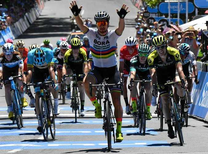 WELL-PLACED: Peter Sagan wins stage four of the Tour Down Under from Norwood to Uraidla, South Australia yesterday.