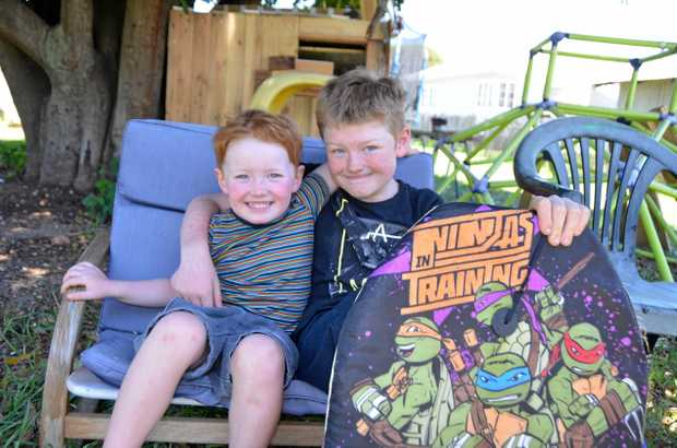 HERO: Warwick boy Ayden Driscoll, 10, (right) saved his little brother Ashah, 3, from drowning at Tweed Heads.