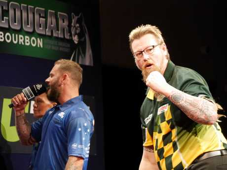 Simon Whitlock celebrates his final win over Kyle Anderson at Gold Coast Turf Club on Thursday night. (Picture: Rachael Jones, DPA)