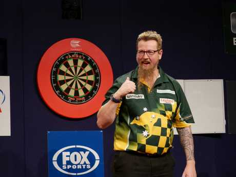 Simon Whitlock celebrates his final win over Kyle Anderson at Gold Coast Turf Club on Thursday night. (Rachael Jones, DPA)