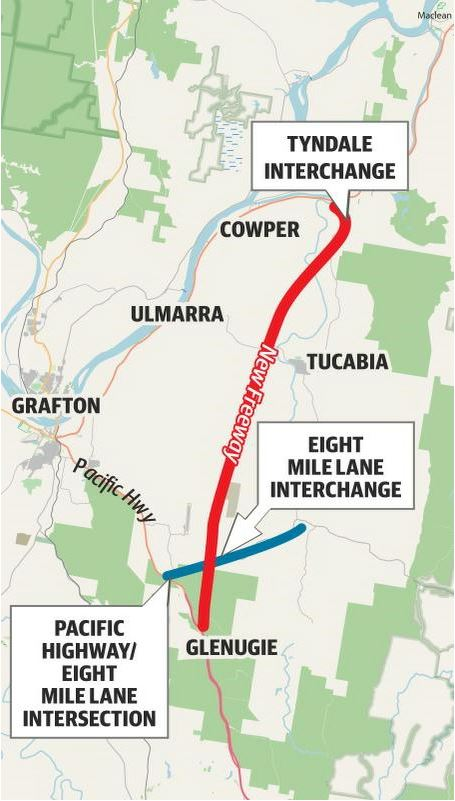 A map of the New Pacific Highway modifications.