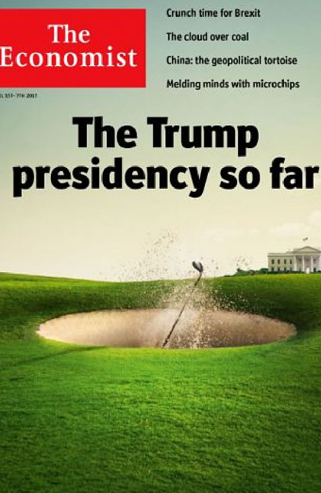 The Economist pictures Donald Trump in a sand bunker. Picture: The Economist