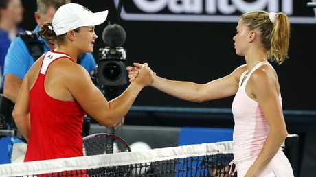 Ash Barty and Camila Giorgi played out three sets on Thursday evening during Day 4 at the Australian Open. (Pic: Michael Klein)