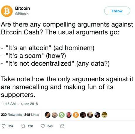 Bitcoin cash hijacked the bitcoin twitter handle earlier in the week. Picture: Bitcoin/Twitter