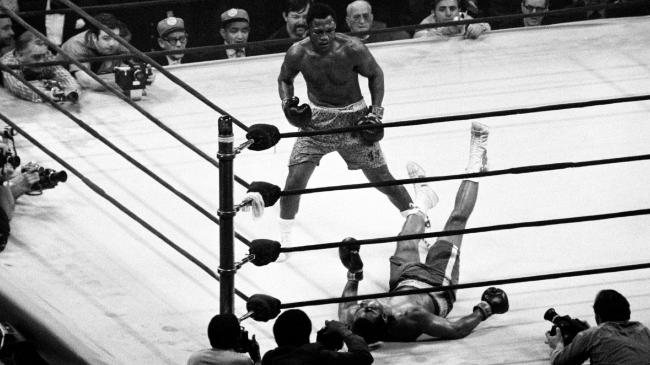 Joe Frazier knocks down Muhammad Ali during their first world heavyweight boxing championship fight at Madison Square Garden in 1971. Picture: Getty Images