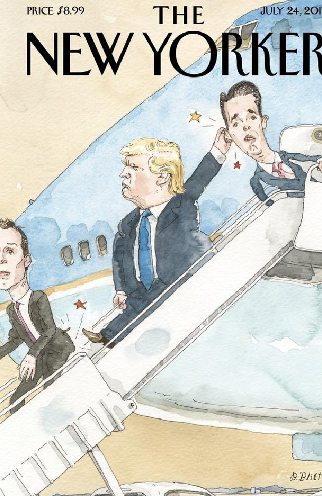 The New Yorker shows an angry Donald Trump with Jared Kushner and Donald Trump Jr. Picture: The New Yorker