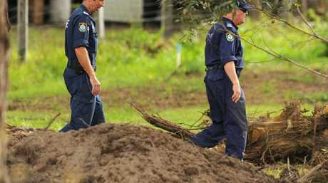Forensic police dig up a backyard in Bonny Hills, NSW but fail to find a trace of William. Picture: Peter Lorimer.